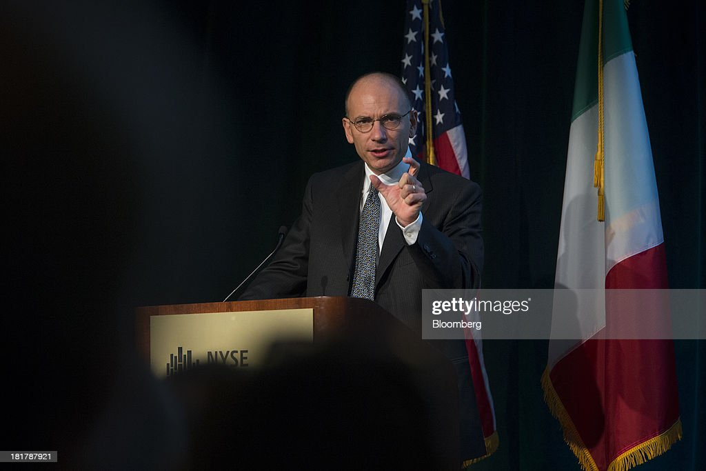 Enrico Letta, Italy's prime minister, delivers a speech at the New York Stock Exchange (NYSE) in New York, U.S., on Wednesday, Sept. 25, 2013. Italian consumer confidence increased more than economists forecast in September to the highest in two years amid optimism that the economy is emerging from recession. Photographer: Scott Eells/Bloomberg via Getty Images