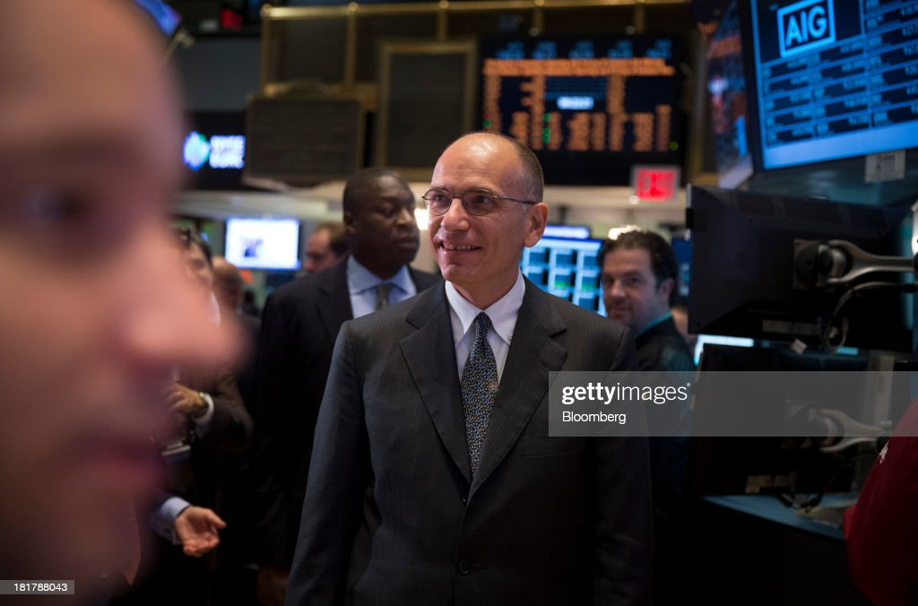 <a gi-track='captionPersonalityLinkClicked' href=/galleries/search?phrase=Enrico+Letta&family=editorial&specificpeople=2915592 ng-click='$event.stopPropagation()'>Enrico Letta</a>, Italy's prime minister, visits the floor of the New York Stock Exchange (NYSE) in New York, U.S., on Wednesday, Sept. 25, 2013. Italian consumer confidence increased more than economists forecast in September to the highest in two years amid optimism that the economy is emerging from recession. Photographer: Scott Eells/Bloomberg via Getty Images