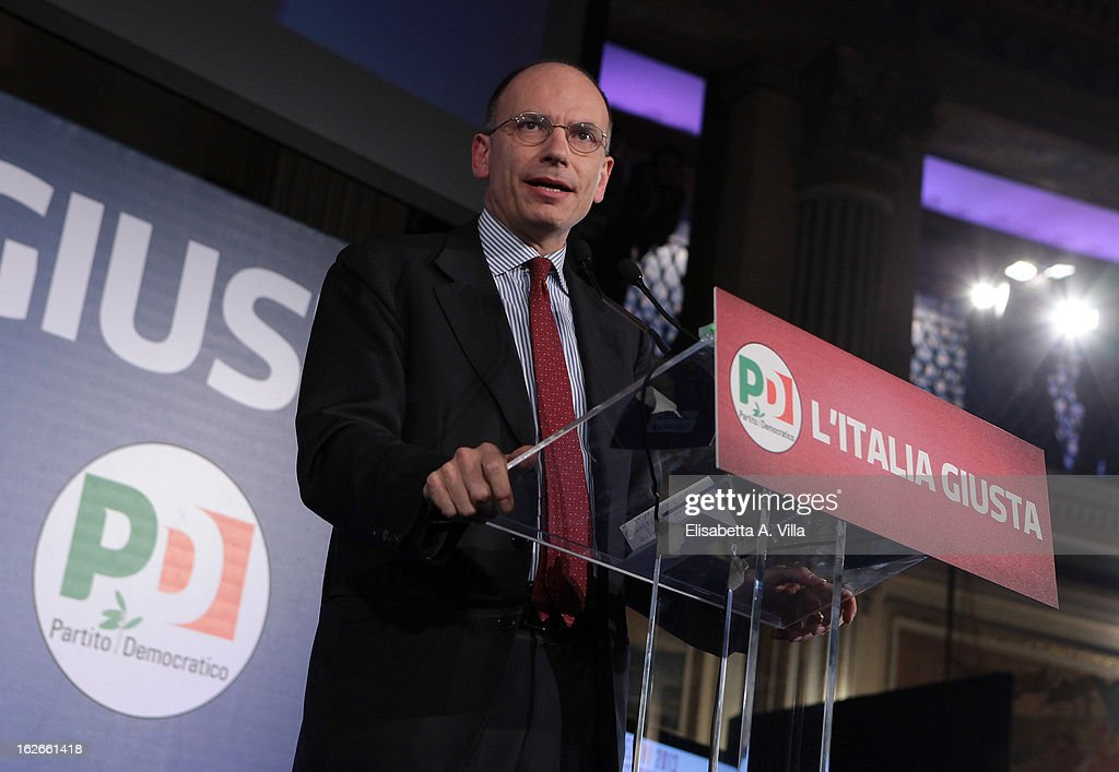 <a gi-track='captionPersonalityLinkClicked' href=/galleries/search?phrase=Enrico+Letta&family=editorial&specificpeople=2915592 ng-click='$event.stopPropagation()'>Enrico Letta</a>, under-secretary of the Democratic Party addresses journalists at the PD headquarters on February 25, 2013 in Rome, Italy. Election polls showed Pier Luigi Bersani's centre-left alliance to be a few points ahead of the centre-right coalition lead by Silvio Berlusconi and Movimento 5 Stelle (Five Stars Movement) to settle at the third place both at the Chamber of Deputies and at the Senate.