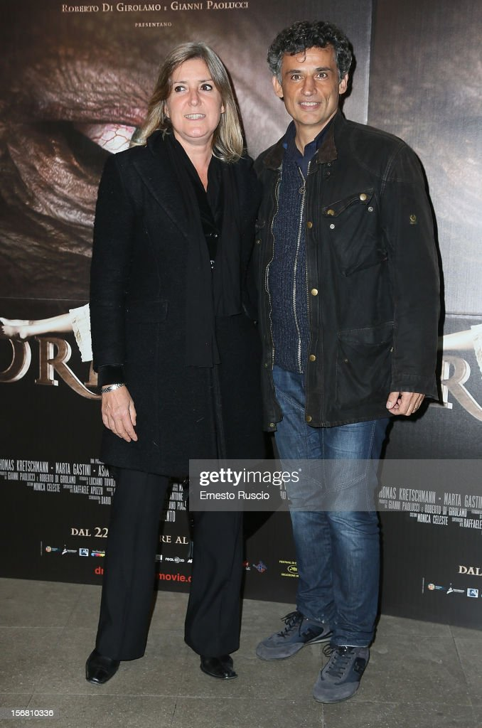 Enrico Lo Verso and his wife Elena attend the 'Dracula in 3D' premiere at Cinema Barberini on November 21, 2012 in Rome, Italy.