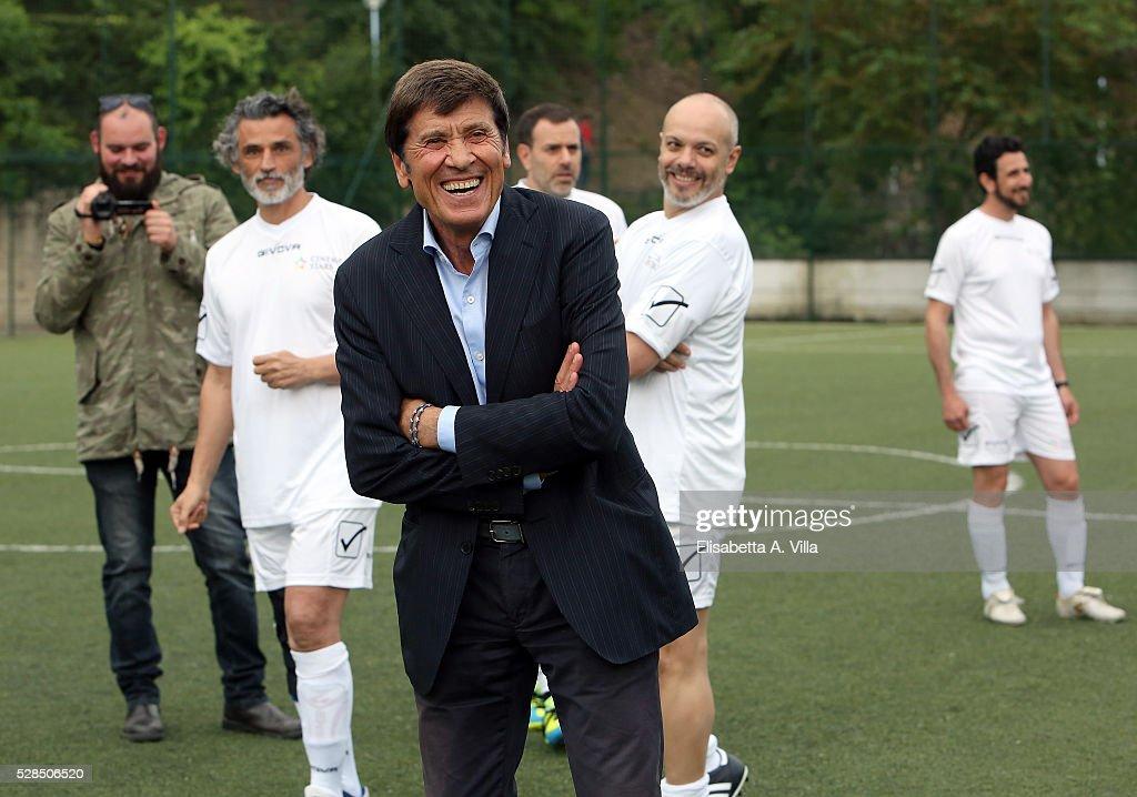 Enrico Lo Verso, Gianni Morandi, Fausto Brizzi and Diego Bianchi aka Zoro attend 'Partita Del Cuore' trainings at Due Ponti Sporting Club on May 5, 2016 in Rome, Italy.