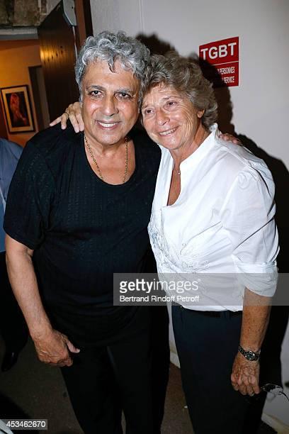 Enrico Macias and President of Ramatuelle Festival Jacqueline Franjou pose after the concert of singer Enrico Macias at the 30th Ramatuelle Festival...