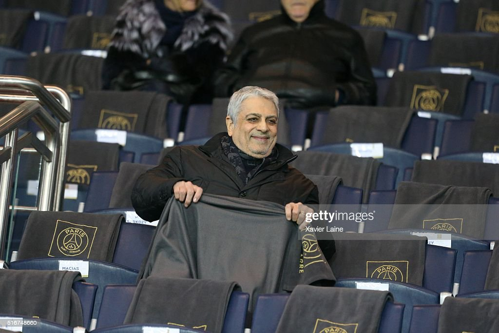 <a gi-track='captionPersonalityLinkClicked' href=/galleries/search?phrase=Enrico+Macias&family=editorial&specificpeople=2057443 ng-click='$event.stopPropagation()'>Enrico Macias</a> attends the French Ligue 1 match between Paris Saint-Germain and AS Monaco at Parc des Princes on march 20, 2016 in Paris, France.