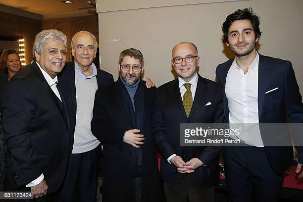 Enrico Macias JeanPierre Elkabbach Haim Korsia Bernard Caseneuve and Symon Mill attend the Enrico Macias Show at L'Olympia on January 7 2017 in Paris...