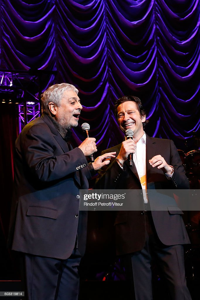 <a gi-track='captionPersonalityLinkClicked' href=/galleries/search?phrase=Enrico+Macias&family=editorial&specificpeople=2057443 ng-click='$event.stopPropagation()'>Enrico Macias</a> sings with <a gi-track='captionPersonalityLinkClicked' href=/galleries/search?phrase=Laurent+Gerra&family=editorial&specificpeople=538435 ng-click='$event.stopPropagation()'>Laurent Gerra</a> the parody of his song ' L'Oriental ' during the last representation of the <a gi-track='captionPersonalityLinkClicked' href=/galleries/search?phrase=Laurent+Gerra&family=editorial&specificpeople=538435 ng-click='$event.stopPropagation()'>Laurent Gerra</a> One Man Show at L'Olympia on January 02, 2016 in Paris, France.