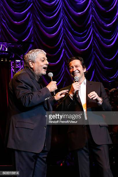 Enrico Macias sings with Laurent Gerra the parody of his song ' L'Oriental ' during the last representation of the Laurent Gerra One Man Show at...