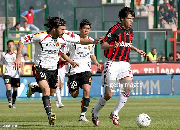 Enrico Morello chases Kaka of Messina of AC Milan during the Serie A league match between Messina and AC Milan at the San Filippo Stadium on April 15...