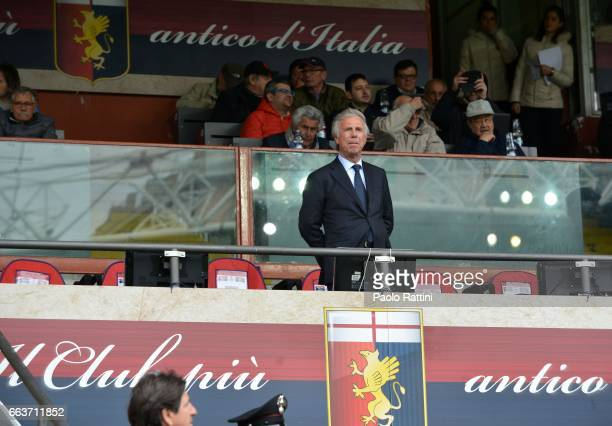 Enrico Preziosi Genoa President during the Serie A match between Genoa CFC and Atalanta BC at Stadio Luigi Ferraris on April 2 2017 in Genoa Italy