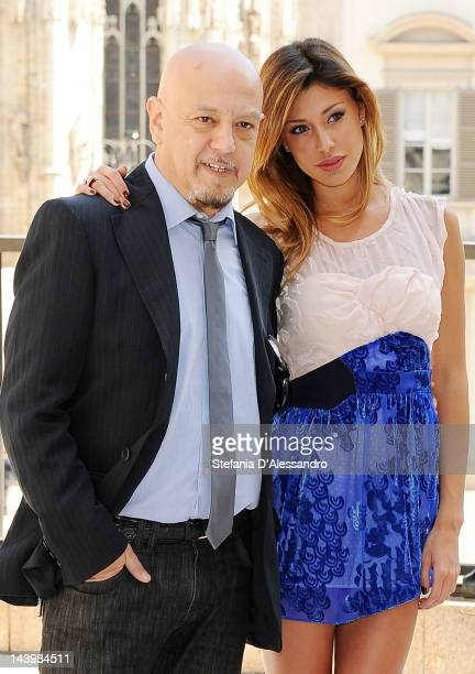 Enrico Ruggeri and Belen Rodriguez attend Radio Italia LIVE Concert Press Conference on May 7 2012 in Milan Italy