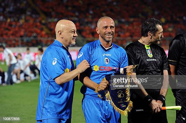 Enrico Ruggeri and Eros Ramazzotti of Nazionale Cantanti attend the XIX Partita Del Cuore charity football game at on May 25 2010 in Modena Italy