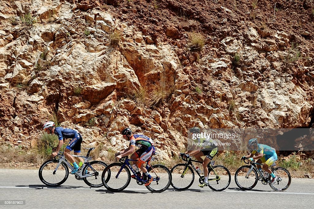 Enrico Salvador of Unieuro Wilier leads to Michael Eduard Grosu of Nippo-Vini Fantini, Peter Schulting of Parkhotel Valkenburg Continental Team, and Galym Akhmetov of Astana City during Stage 6 of the 2016 Tour of Turkey, Kumluca to Elmali (117 km) on April 24, 2016 in Kumluca, Turkey.
