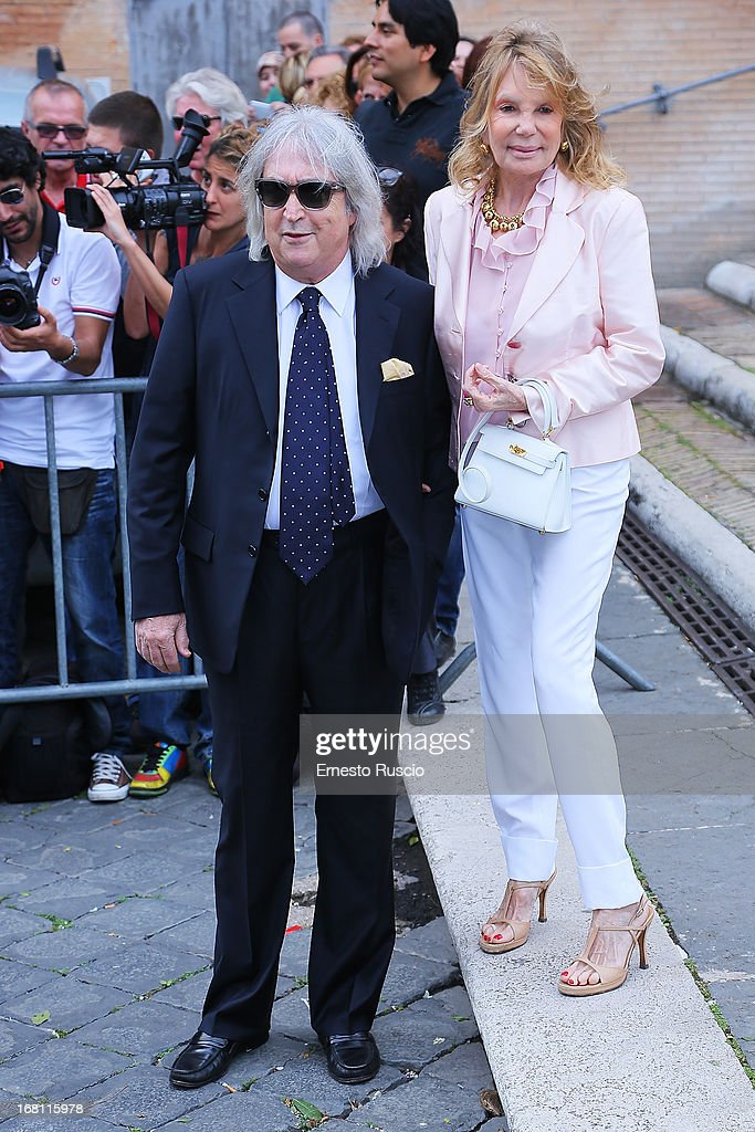Enrico Vanzina and his wife Federica Burger attend the Valeria Marini And Giovanni Cottone wedding at Ara Coeli on May 5, 2013 in Rome, Italy.