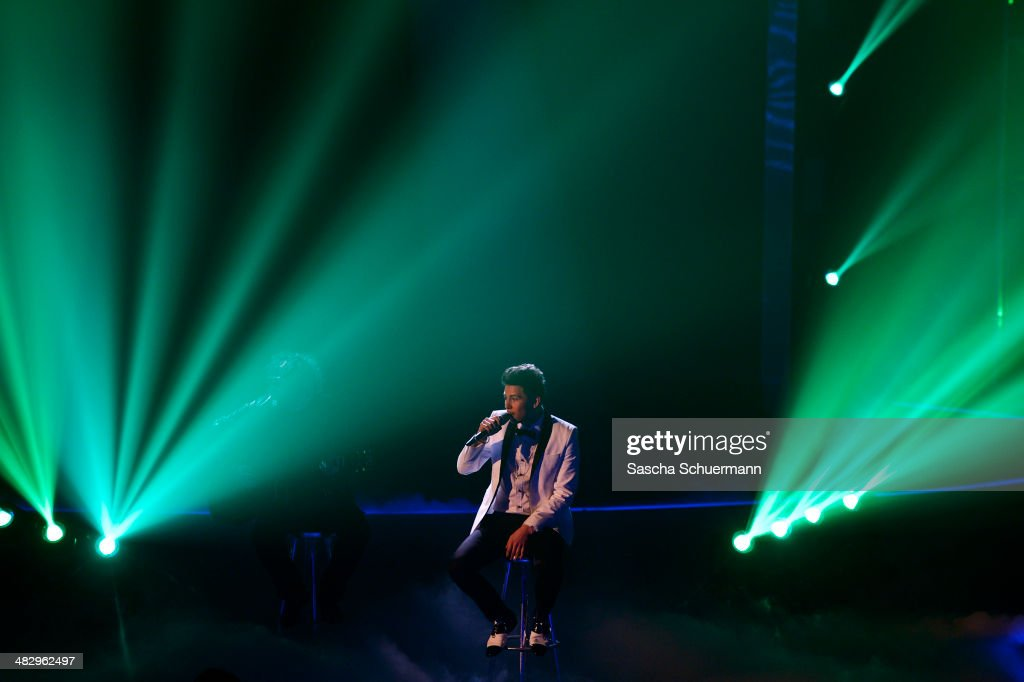 Enrico Von Krawczynski performs at the rehearsal for the 2nd 'Deutschland sucht den Superstar' (DSDS) show at Coloneum on April 5, 2014 in Cologne, Germany.