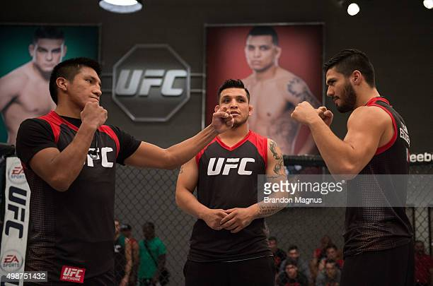 Enrique Barzola and Horacio Gutrierrez face off during the filming of The Ultimate Fighter Latin America Team Gastelum vs Team Escudero on April 22...