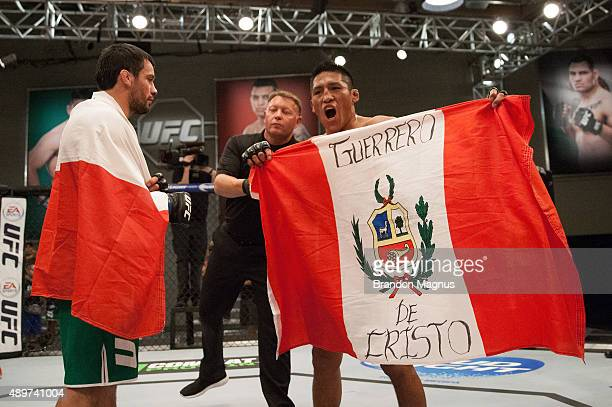 Enrique Barzola celebrates his victory over Jonathan Ortega during the filming of The Ultimate Fighter Latin America Team Gastelum vs Team Escudero...