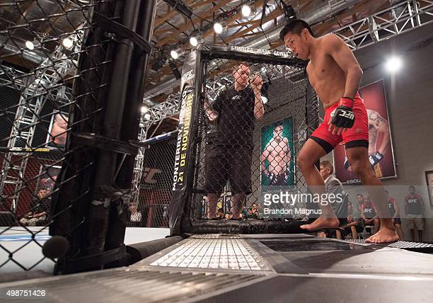 Enrique Barzola enters the Octagon before facing Cesar Arsamendia in their semifinals fight during the filming of The Ultimate Fighter Latin America...