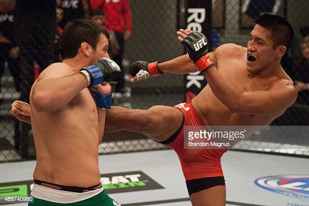 Enrique Barzola kicks Jonathan Ortega during the filming of The Ultimate Fighter Latin America Team Gastelum vs Team Escudero on April 7 2015 in Las...