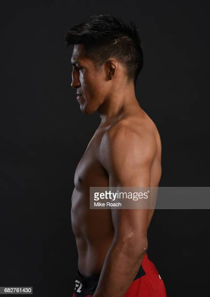 Enrique Barzola of Peru poses for a post fight portrait backstage during the UFC 211 event at the American Airlines Center on May 13 2017 in Dallas...