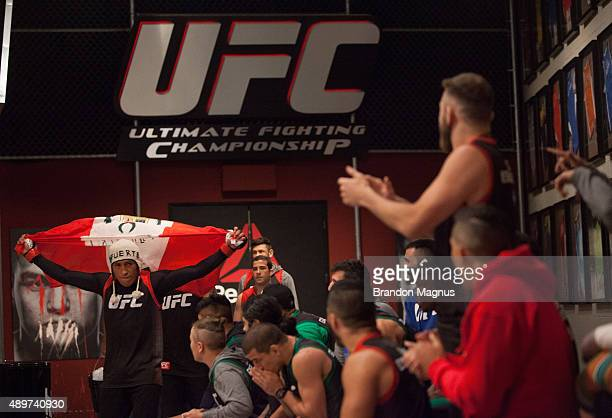 Enrique Barzola prepares to enter the Octagon before facing Jonathan Ortega during the filming of The Ultimate Fighter Latin America Team Gastelum vs...