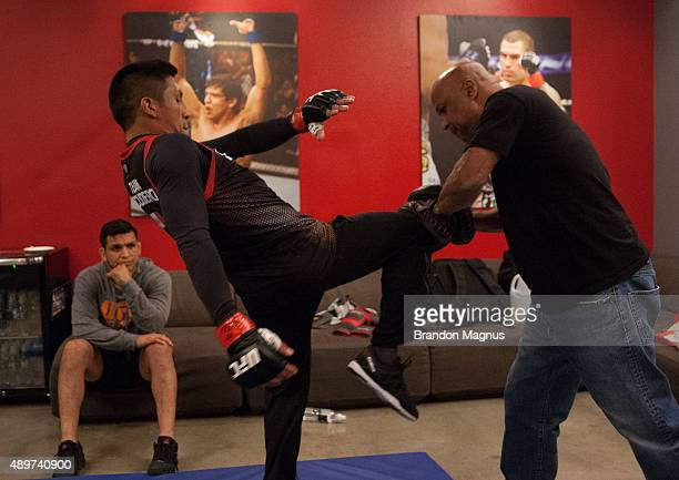 Enrique Barzola warms up before facing Jonathan Ortega during the filming of The Ultimate Fighter Latin America Team Gastelum vs Team Escudero on...