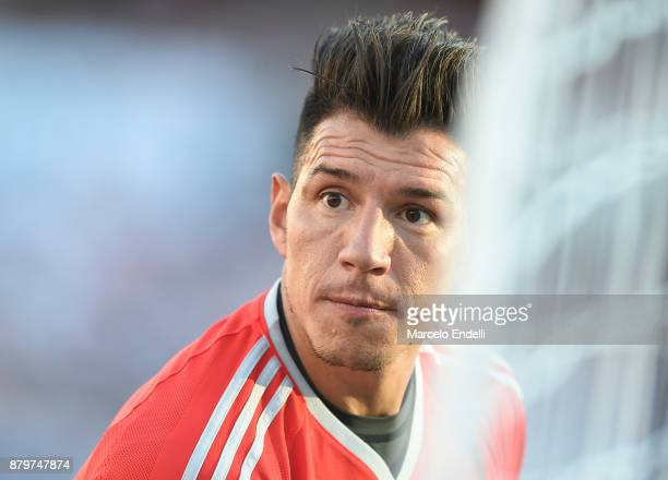 Enrique Bologna goalkeeper of River Plate looks on prior a match between River and Newell's Old Boys as part of Superliga 2017/18 at Monumental...
