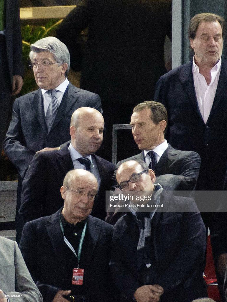 Enrique Cerezo (L top) and Emilio Butragueno (R middle) attend the 2013 World Men's Handball Championship Opening on January 11, 2013 in Madrid, Spain.