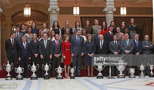 Enrique Cerezo Jose Ignacio Sanchez Galán Princess Elena of Spain Prince Felipe of Spain Princess Letizia of Spain and Queen Sofia of Spain attend...