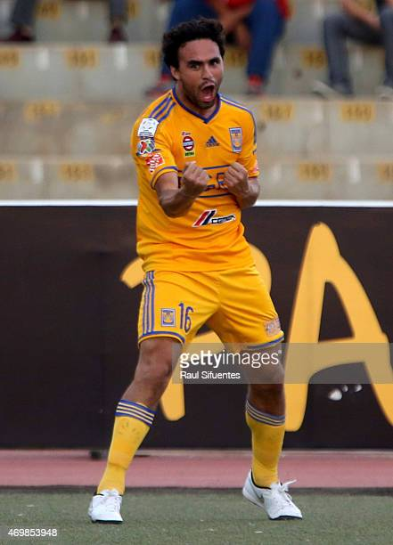 Enrique Esqueda of Tigres celebrates after scoring the first goal of his team against Juan Aurich during a match between Juan Aurich and Tigres as...