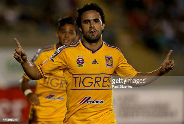 Enrique Esqueda of Tigres celebrates after scoring the fourth goal of his team against Juan Aurich during a match between Juan Aurich and Tigres as...