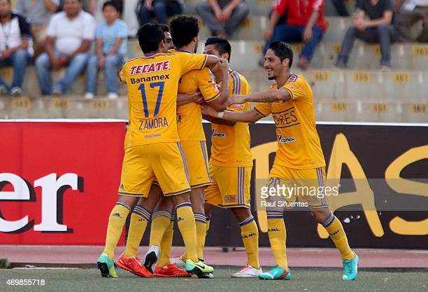Enrique Esqueda of Tigres celebrates after scoring the second goal of his team against Juan Aurich during a match between Juan Aurich and Tigres as...