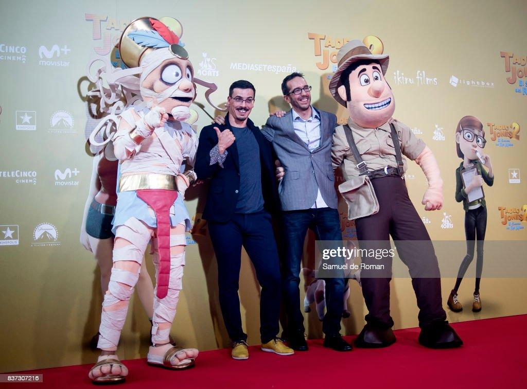 Enrique Gato and David Alonso attend the 'Tadeo Jones 2. El Secreto Del Rey Midas' Madrid Premiere on August 22, 2017 in Madrid, Spain.