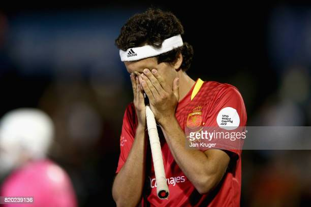 Enrique Gonzalez of Spain is dejected after missing a penalty in the penalty shoot out during the semifinal match between Spain and Germany on Day 7...