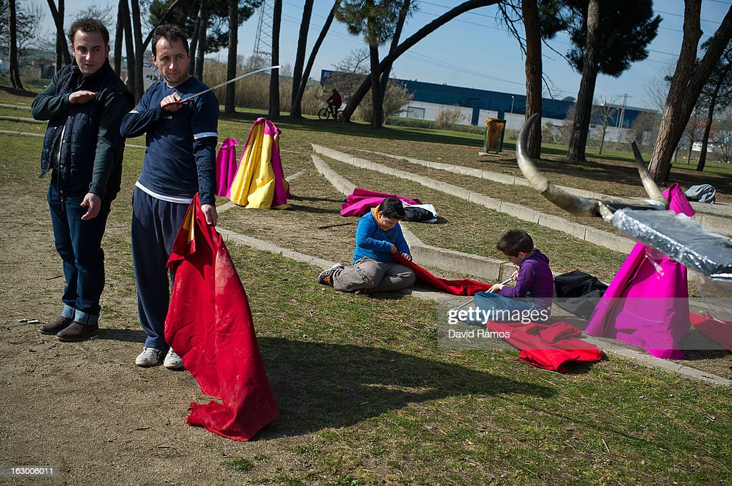 Enrique Guillen teaches Javier Vila, 39, how to kill fightong bulls as they practices bullfighting in a city park in Santa Perpetua de la Mogoda on March 3, 2013 in Barcelona, Spain. On February 12 the Spanish Parliament accepted a petition from bullfight supporters asking for the sport to become a key part of the Spain's cultural heritage. The petition, of 590,000 signatures, has been promoted by the Federation of Bullfighting Entities of Catalonia. The last bullfight in Catalonia was held in September 25, 2011.