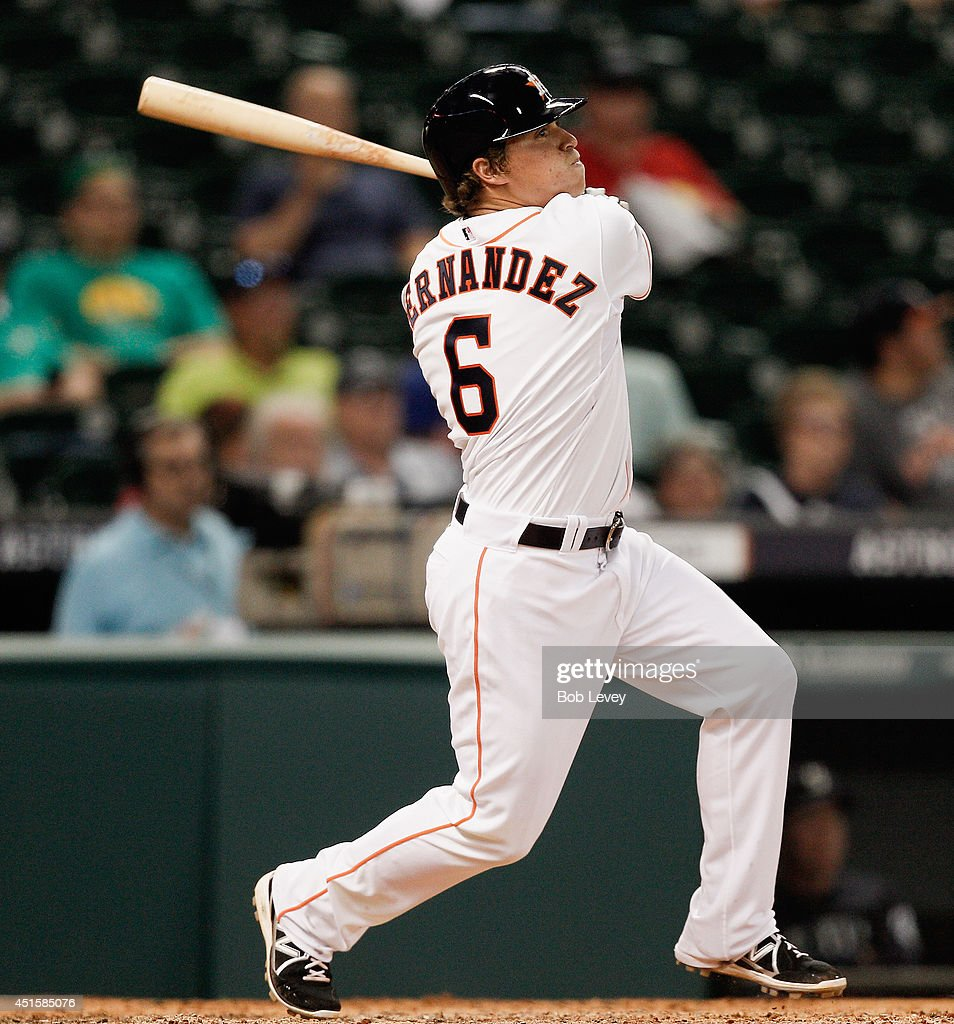 Enrique Hernandez #6 of the Houston Astros doubles in the seventh inning against the Seattle Mariners at Minute Maid Park on July 1, 2014 in Houston, Texas.