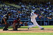 Enrique Hernandez of the Los Angeles Dodgers bats against the Arizona Diamondbacks at Dodger Stadium on May 3 2015 in Los Angeles California