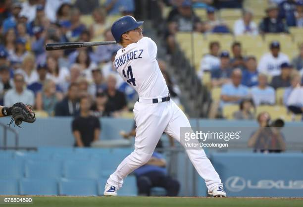 Enrique Hernandez of the Los Angeles Dodgers hits a fly ball to center field in the first inning during the MLB game against the San Francisco Giants...