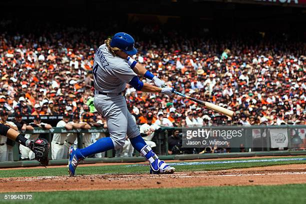 Enrique Hernandez of the Los Angeles Dodgers hits an RBI single against the San Francisco Giants during the second inning at ATT Park on April 7 2016...