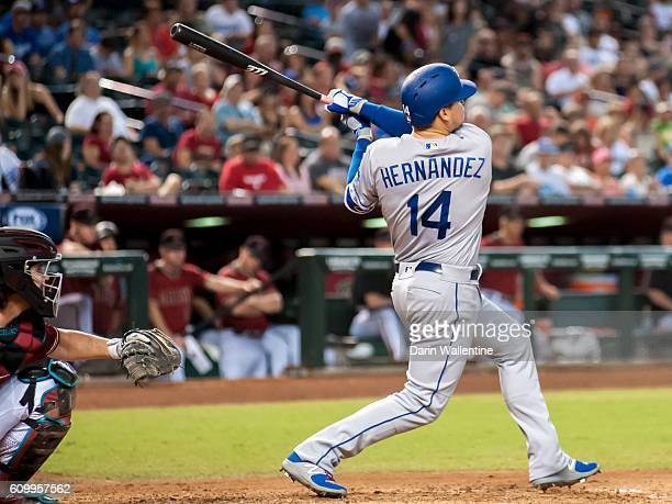 Enrique Hernandez of the Los Angeles Dodgers homers off of Robbie Ray of the Arizona Diamondbacks in the fifth inning of the MLB game at Chase Field...