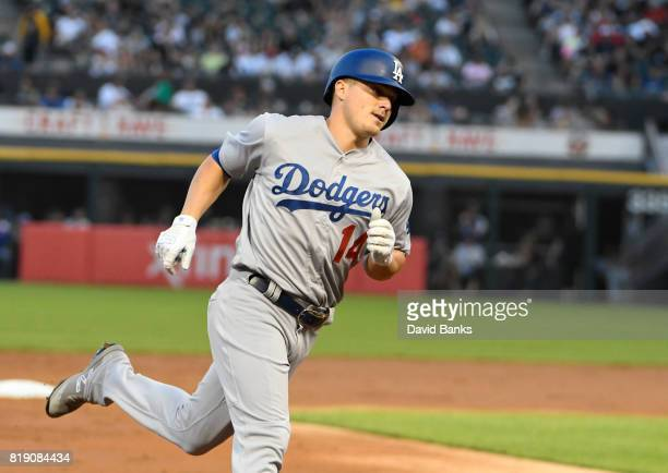 Enrique Hernandez of the Los Angeles Dodgers runs the bases after hitting a home run against the Chicago White Sox during the second inning on July...