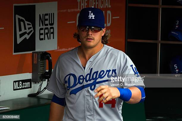 Enrique Hernandez of the Los Angeles Dodgers stands in the dugout before the game against the San Francisco Giants at ATT Park on April 9 2016 in San...