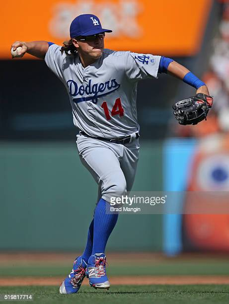Enrique Hernandez of the Los Angeles Dodgers throws to first base during the game against the San Francisco Giants at ATT Park on Thursday April 7...