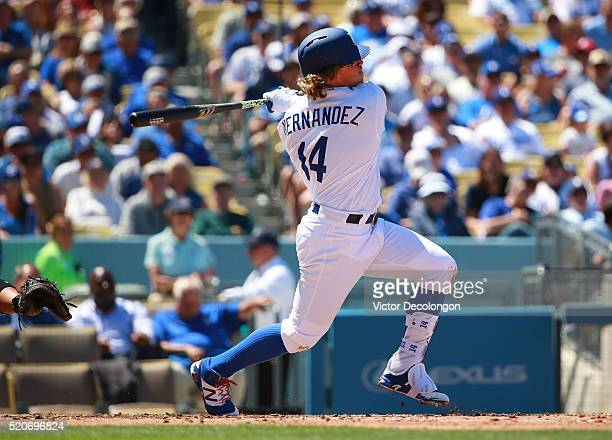 Enrique Hernandez of the Los Angeles singles to shallow left field in the third inning during the MLB game against the Arizona Diamondbacks at Dodger...
