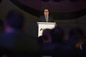 Enrique Hidalgo president of ExxonMobil Ventures Mexico left speaks during the Mexican Association of Oil Companies Oil National Convention at the...