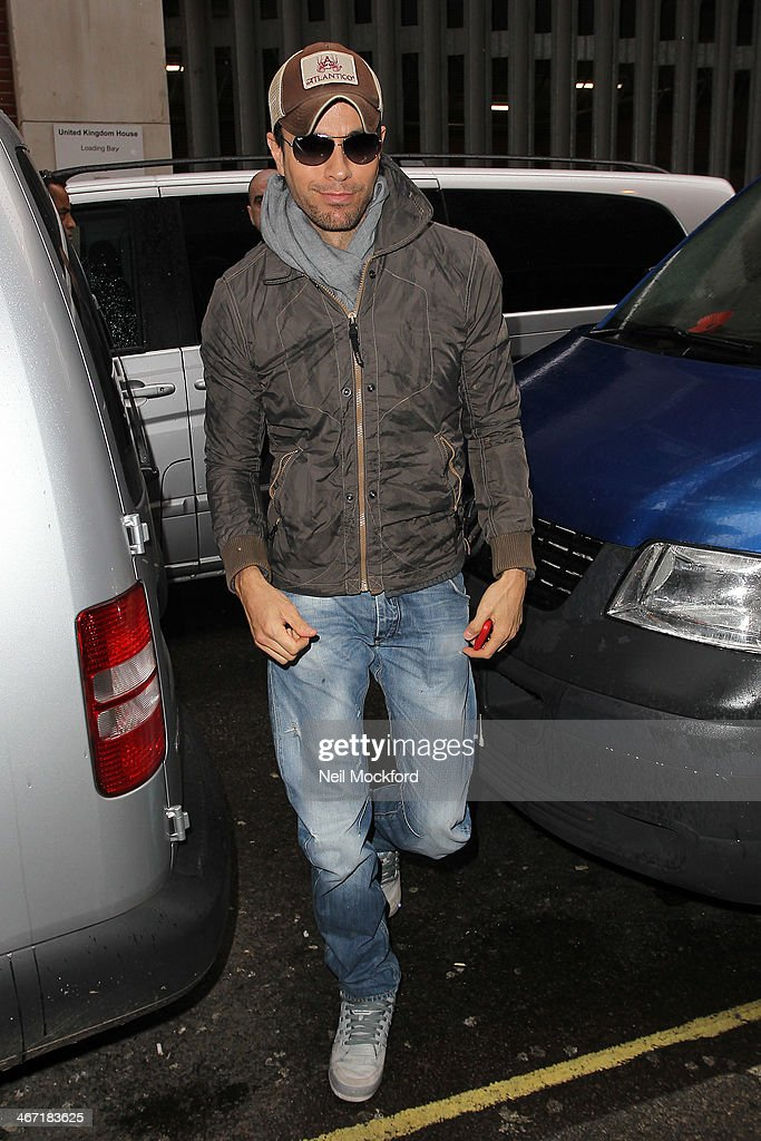 Enrique Iglesias is sighted at KISS FM UK on February 6, 2014 in London, England.
