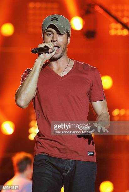 Enrique Iglesias performs at the France 2 Television's 'Fete de la Musique' at the Auteuil Horse track on June 21 2008 in Paris France