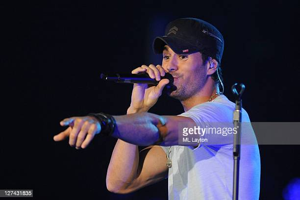 Enrique Iglesias performs during the 'Euphoria' tour at the Patriot Center on September 27 2011 in Fairfax Virginia