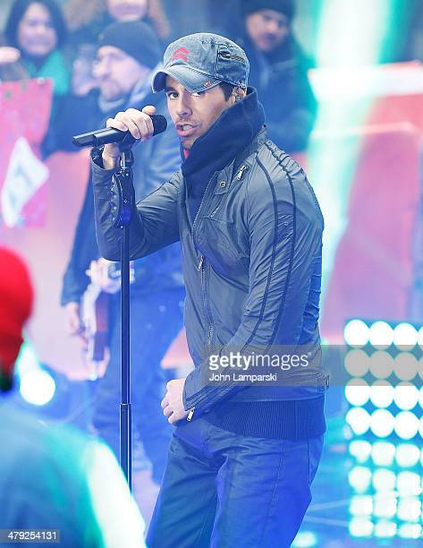 Enrique Iglesias performs on NBC's 'Today' at Rockefeller Center on March 17 2014 in New York New York