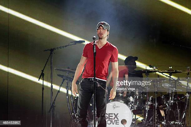 Enrique Iglesias performs on stage at Coliseo Jose M Agrelot on March 6 2015 in San Juan Puerto Rico