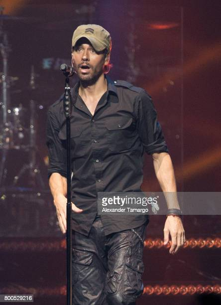 Enrique Iglesias performs on stage at the AmericanAirlines Arena on June 23 2017 in Miami Florida