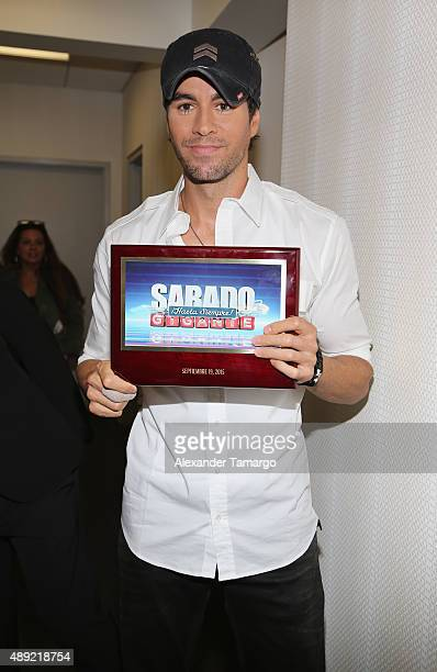 Enrique Iglesias poses in the VIP area at Univision's 'Sabado Gigante' Finale at Univision Studios on September 19 2015 in Miami Florida